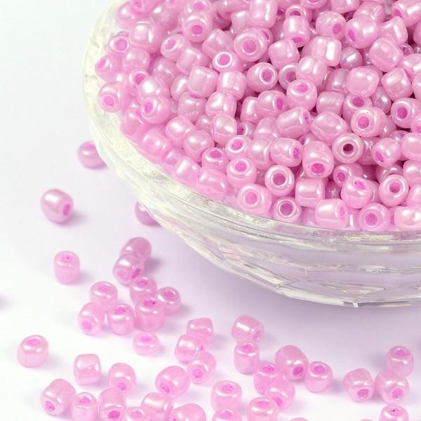 50 Gramm Rocailles rund rosa