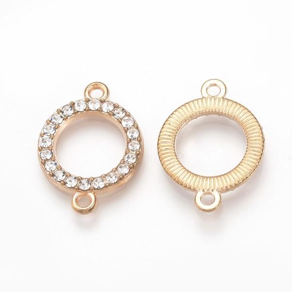 Verbinder Ring mit Strasssteinen hell goldfarben