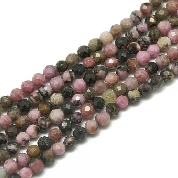 Natürlicher Rhodonit Perlenstrang facettiert 3 mm (ca. 113 Perlen / ca. 38 cm Länge)