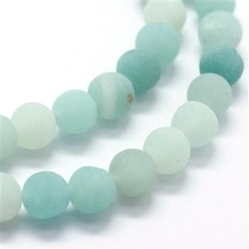 Natürlicher Amazonit Perlenstrang gefrostet 8 mm (ca. 46 Perlen / ca. 40 cm Länge)