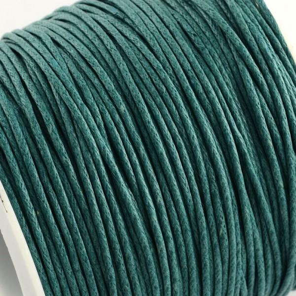 5 Meter gewachste Baumwollschnur blaugrün Stärke 1 mm