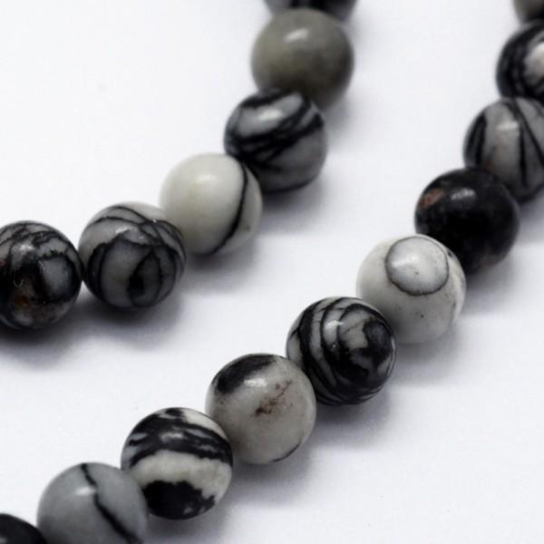 50 natürliche Steinperlen rund glatt glänzend schwarz weiß gemustert 6 mm