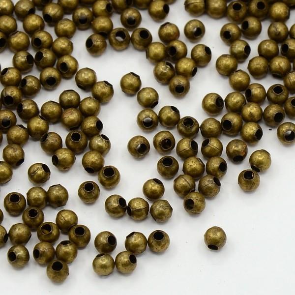 100 Metall Zwischenperlen Spacer aus Eisen bronzefarben Durchmesser 3 mm