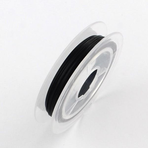 1 Rolle (10 Meter) Nylon beschichteter Tiger Schwanz Schmuckdraht schwarz 0,38 mm