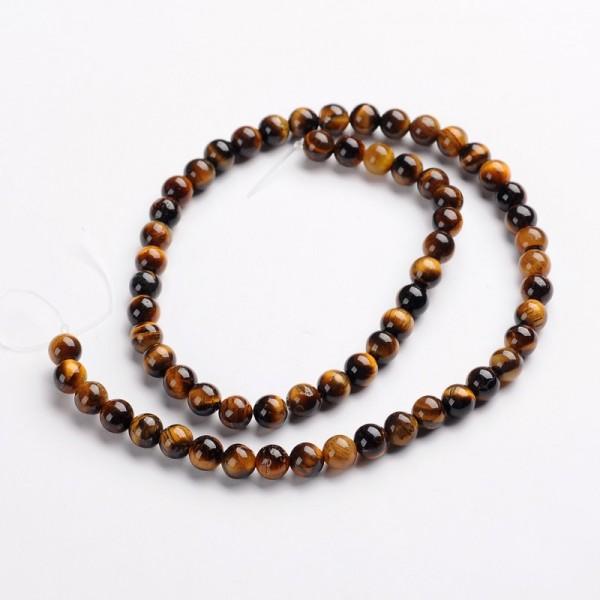 Natürlicher Tigerauge Perlenstrang rund glatt glänzend 6 mm (ca. 63 Perlen / ca. 39 cm Länge)
