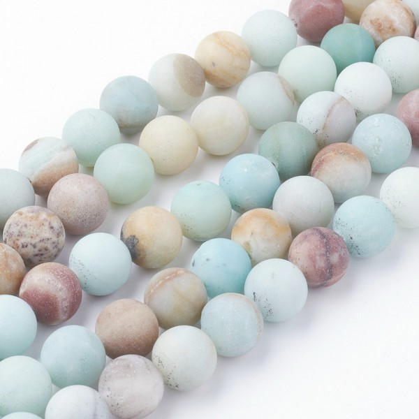 Natürlicher Amazonit Perlenstrang matt gefrostet rund 6 mm (ca. 60 Perlen / ca. 38 cm Länge)
