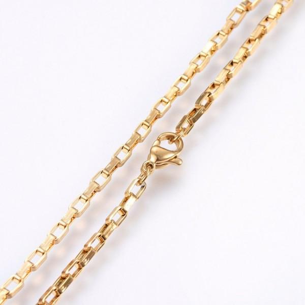 Goldfarbene Edelstahl Halskette mit Karabinerverschluß 50 cm Länge