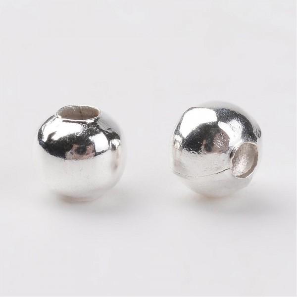 200 Eisen Perlen silberfarben 4 mm