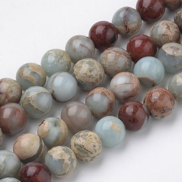 Natürlicher Aqua Terra Jaspis Perlenstrang rund 4 mm (ca. 62 Perlen / ca. 39 cm Länge)