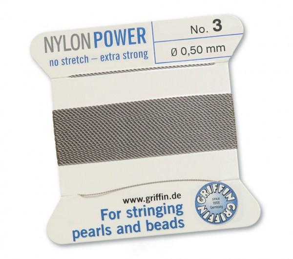 Griffin Perlseide Nylon Power No. 3 grau 0,50 mm