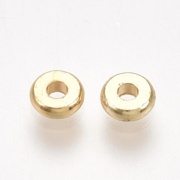 10 Zwischenperlen Spacer Donutperlen 18K vergoldet 4 x 1 mm
