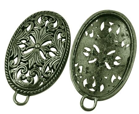Tibetischer Anhänger oval antik bronzefarben