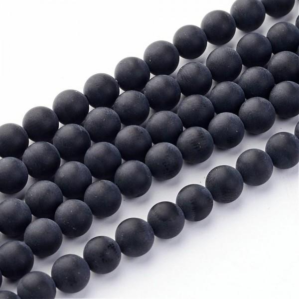 Natürlicher gefrosteter matter Achatperlenstrang schwarz Klasse A 6 mm (ca. 65 Perlen / ca. 38 cm Lä
