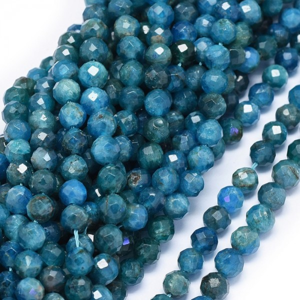 Natürlicher facettierter Apatit Perlenstrang 5,5 - 6 mm (ca. 60 Perlen / ca. 38 cm Länge)