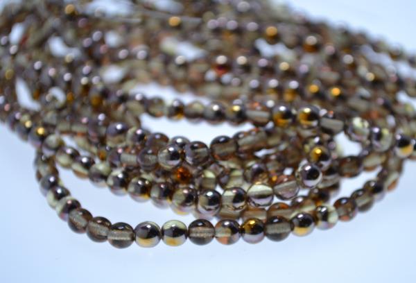 1 Strang hochwertige tschechische Glasperlen hellbraun goldfarben (ca. 50 Perlen / ca. 26 cm Länge)