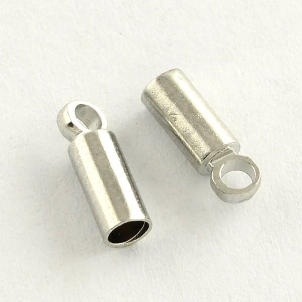 10 Messing Endkappen Bandenden platinfarben für Bänder mit 2 mm Durchmesser