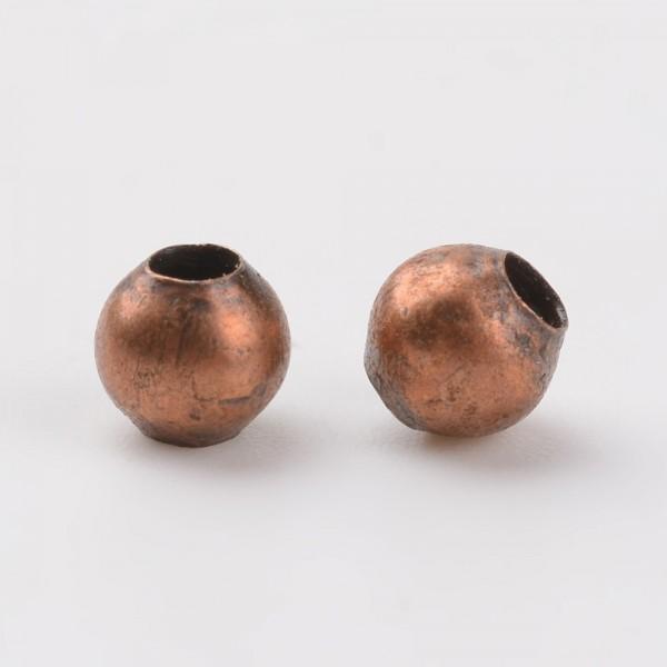 50 Zwischenperlen Spacer aus Eisen kupferfarben 4 mm rund