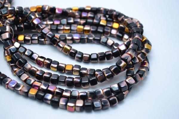 1 Strang hochwertige tschechische Glasperlen Quadrat dunkelbraun 5 mm (ca. 50 Perlen / ca. 26 cm Län