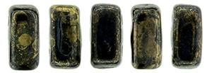 30 hochwertige tschechische Glasperlen doppelt gebohrt 6 x 3 mm Jet Bronze Picasso