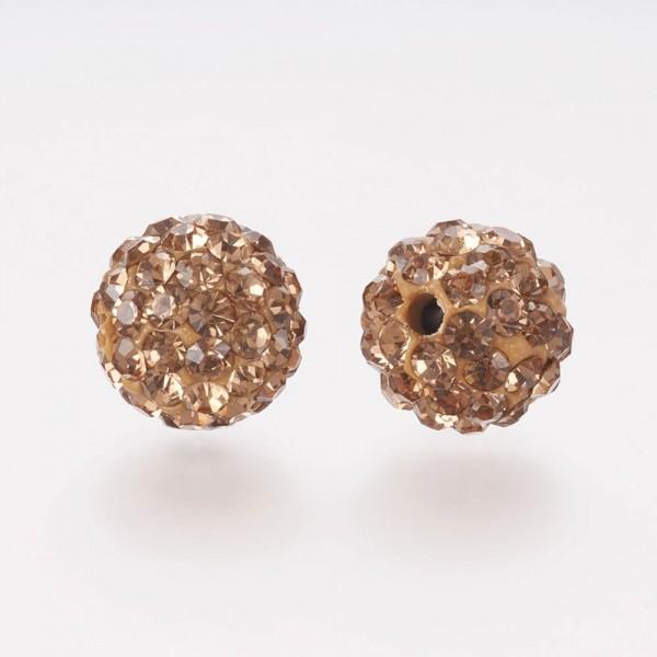 2 Polymer Strass Perlen goldfarben mit transparentem Strass Klasse A 8 x 7,5 mm