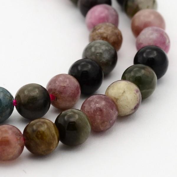 Natürlicher kurzer Turmalin Perlenstrang rund glatt 6 mm (ca. 31 Perlen / ca. 18 cm Länge)