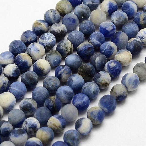 Natürlicher matter Sodalith Perlenstrang gefrostet rund 6 mm (ca. 60 Perlen / ca. 39 cm Länge)