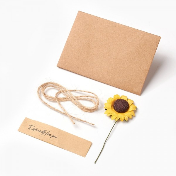 Natürliche Geschenkverpackung für DIY Schmuck mit Sonnenblume und Hanfschnur 10,5 x 7,2 mm