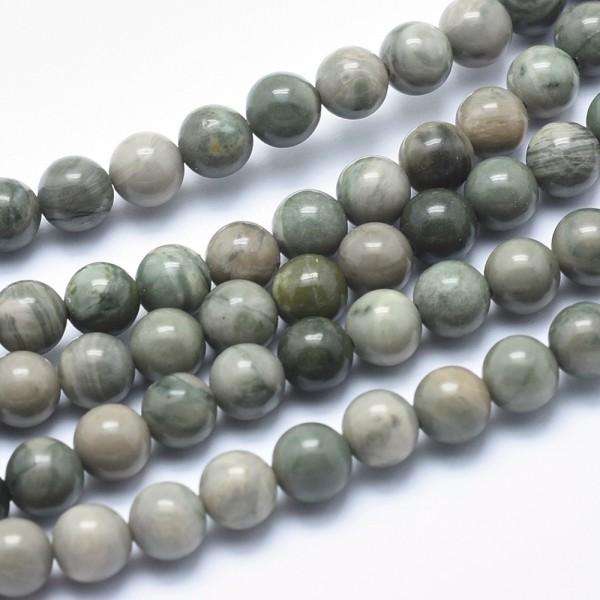 Perlenstrang natürliche grüne Jaspis Perlen rund 6 - 7 mm (ca. 60 Perlen/38,5 cm)