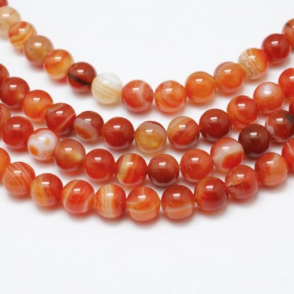 Natürlicher Karneol Perlenstrang 6 mm rund glatt glänzend (ca. 62 Perlen / ca. 37,5 cm Länge)