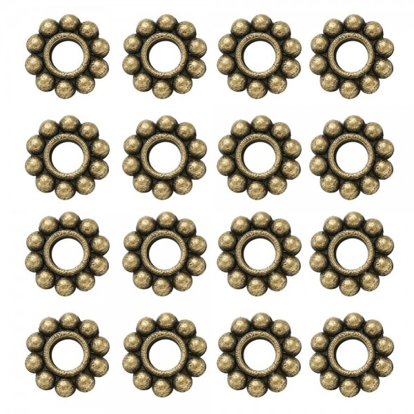 20 Zwischenperlen Spacer Blume antik bronzefarben 6,5 x 1,5 mm