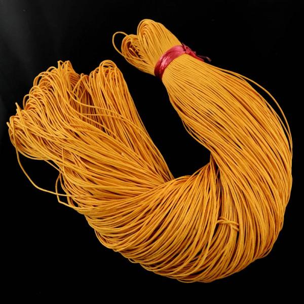5 Meter gewachste Baumwollschnur gelb orange 1 mm