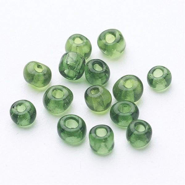 50 Gramm Glasperlen 6/0 transparent rund grün