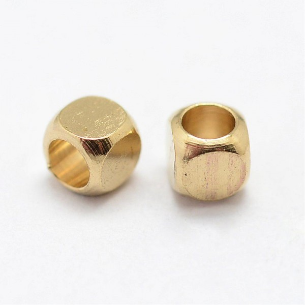 50 Messing Perlen Zwischenperle Würfel goldfarben
