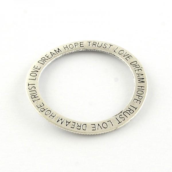 Verbinder Ring XL mit Gravur DREAM HOPE TRUST LOVE antik silberfarben