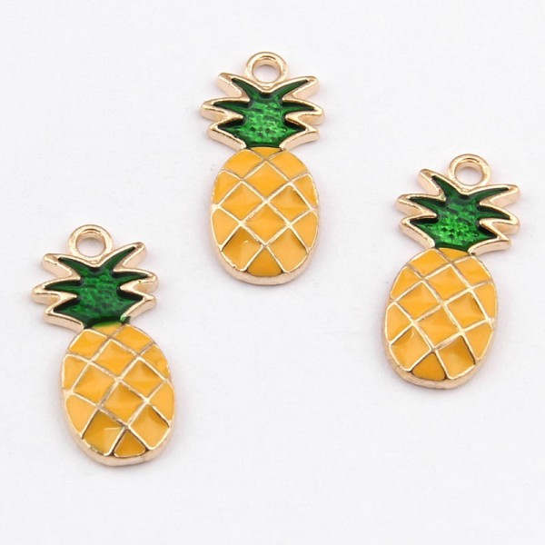 Goldfarbener Charm Anhänger Ananas emailliert 25 x 10 mm