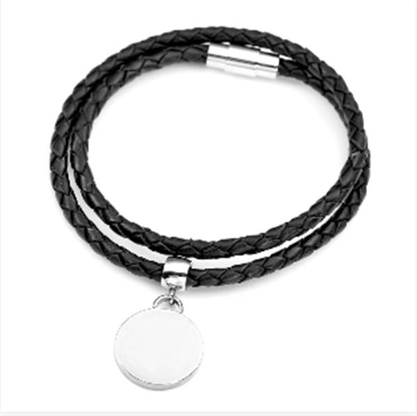Geflochtenes schwarzes Lederarmband mit Edelstah Magnet Drehverschluß und rundem Charm Anhänger (Gra