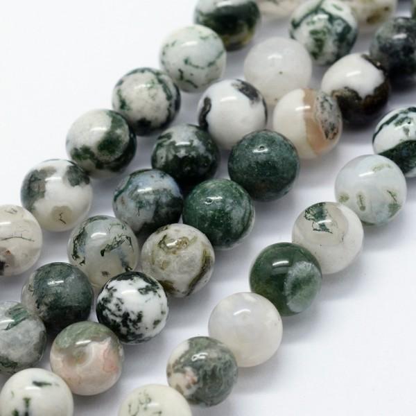 Natürlicher Moosachat Perlenstrang rund glatt 6 mm (ca. 63 Perlen / ca. 37,5 cm Länge)