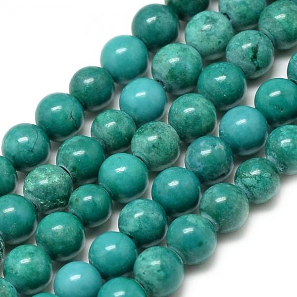 Kunsttürkisfarbener Perlenstrang rund 4 mm (ca. 91 Perlen / ca. 39 cm Länge)