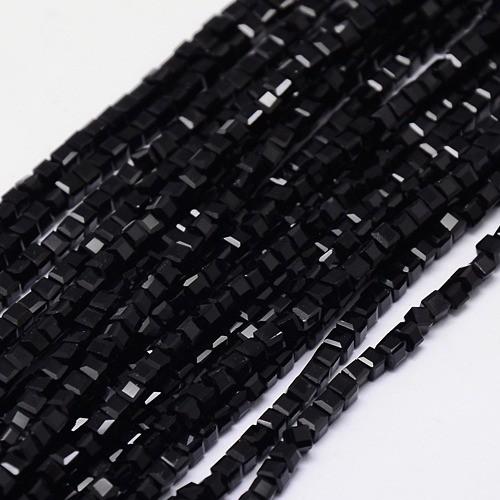 Schwarzer Glasperlenstrang Würfel 3 x 3 x 3 mm (ca. 150 Perlen / ca. 29 cm Länge)