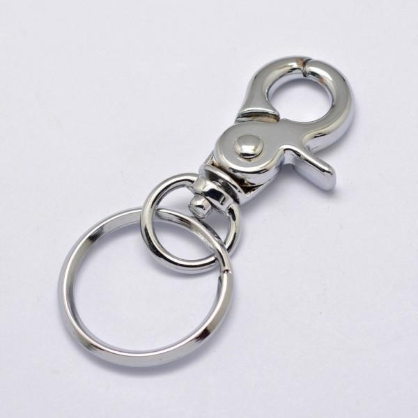 Schlüsselanhänger Drehschlüssel mit Ring platinfarben