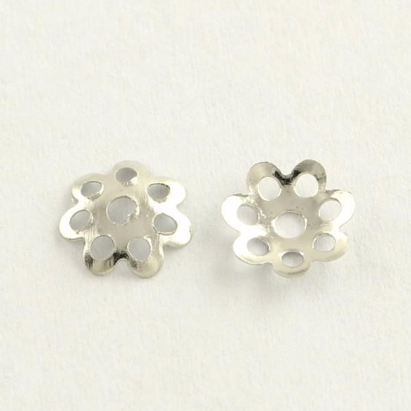 30 Metall Perlkappen Blume platinfarben 6 x 1 mm