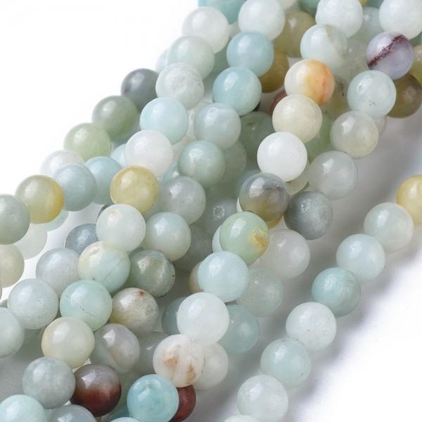 Natürlicher Amazonit Perlenstrang rund glatt 6 mm (ca. 66 Perlen / ca. 39 cm Länge)