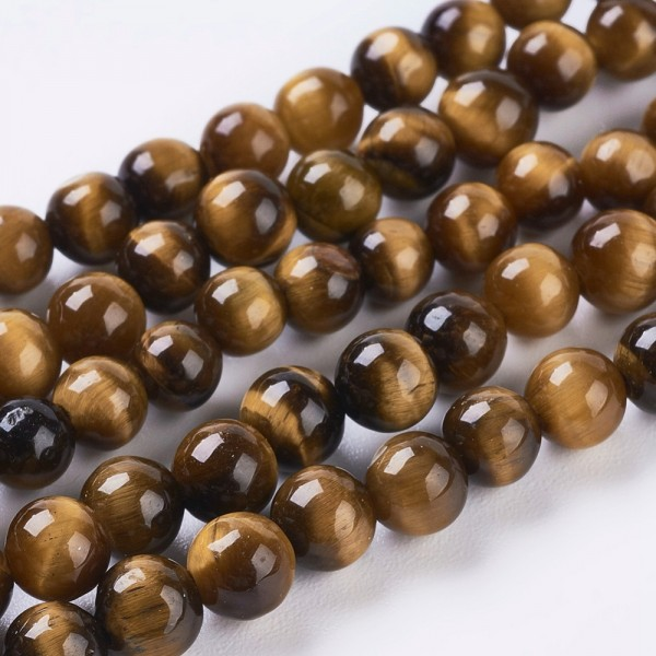 Natürlicher kurzer Tigerauge Perlenstrang glatt glänzend 4 mm (ca. 46 Perlen / ca. 18 cm Länge)
