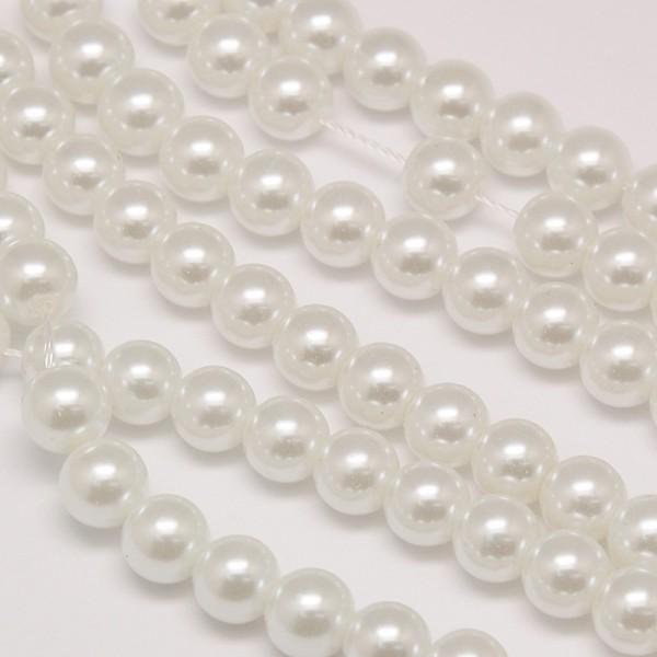 Glasperlenstrang rund weiß 6 mm (ca. 72 Perlen)