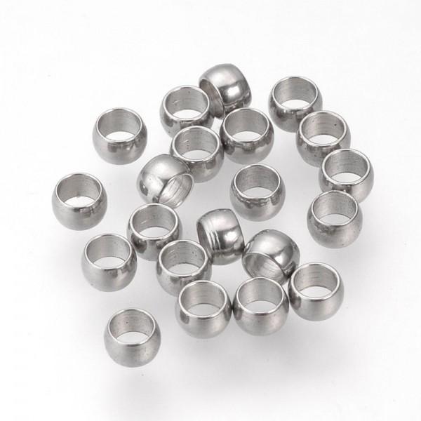 30 Edelstahl Quetschperlen 3 x 2 mm