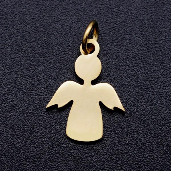 Zierlicher Edelstahl Charm Anhänger Engel goldfarben 15 x 11 5 x 1 mm