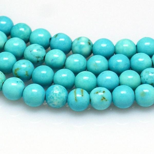 Howlith Perlenstrang rund glatt gefärbt 6 mm (ca. 63 Perlen / ca. 39 cm Länge)