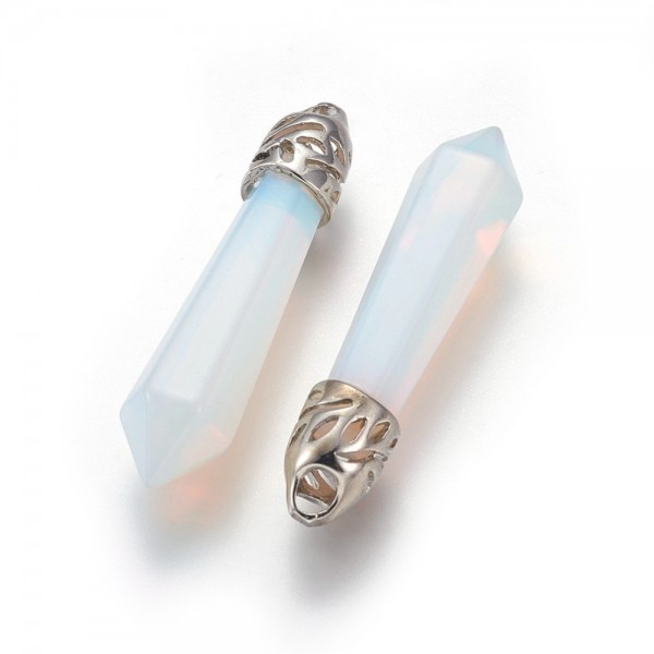 Natürlicher weisser Opalit Anhänger mit Messingschlaufe sechseckig 39 x 9 mm
