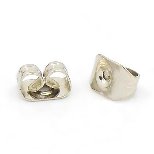 20 Ersatz Ohrmuttern Verschlüsse für Ohrringe aus Eisen silberfarben 5 x 3,5 mm