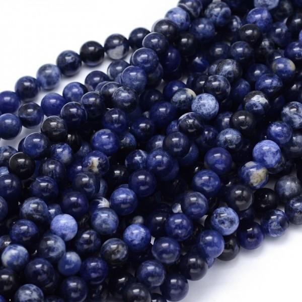 Natürlicher Sodalith Perlenstrang rund glatt glänzend 6 mm (ca. 65 Perlen / ca. 38 cm Länge)